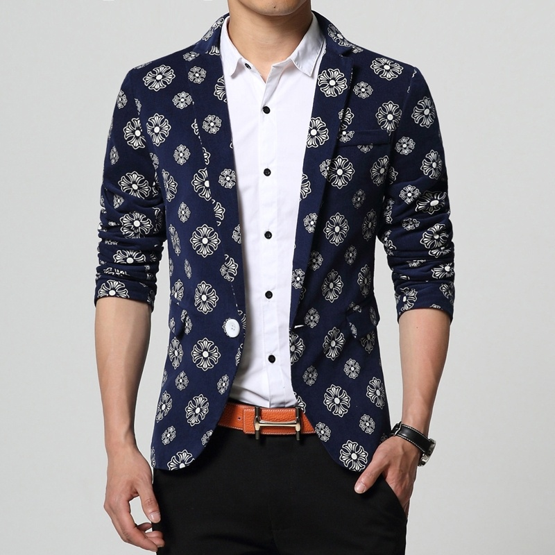 Quality Fashion Autumn Men Suit Jacket Printed Floral ...