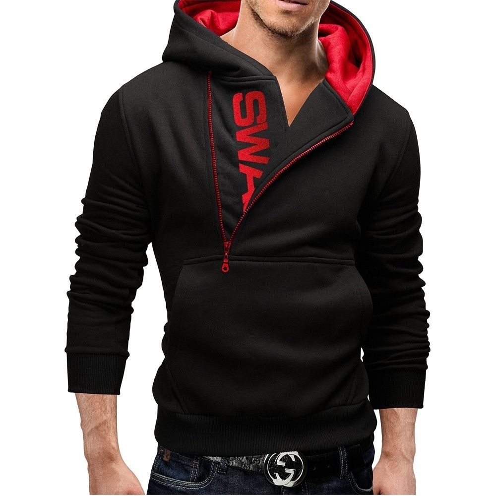 Sleeve Head Side Zipper Hit Color Sweater Hoodie Size ...