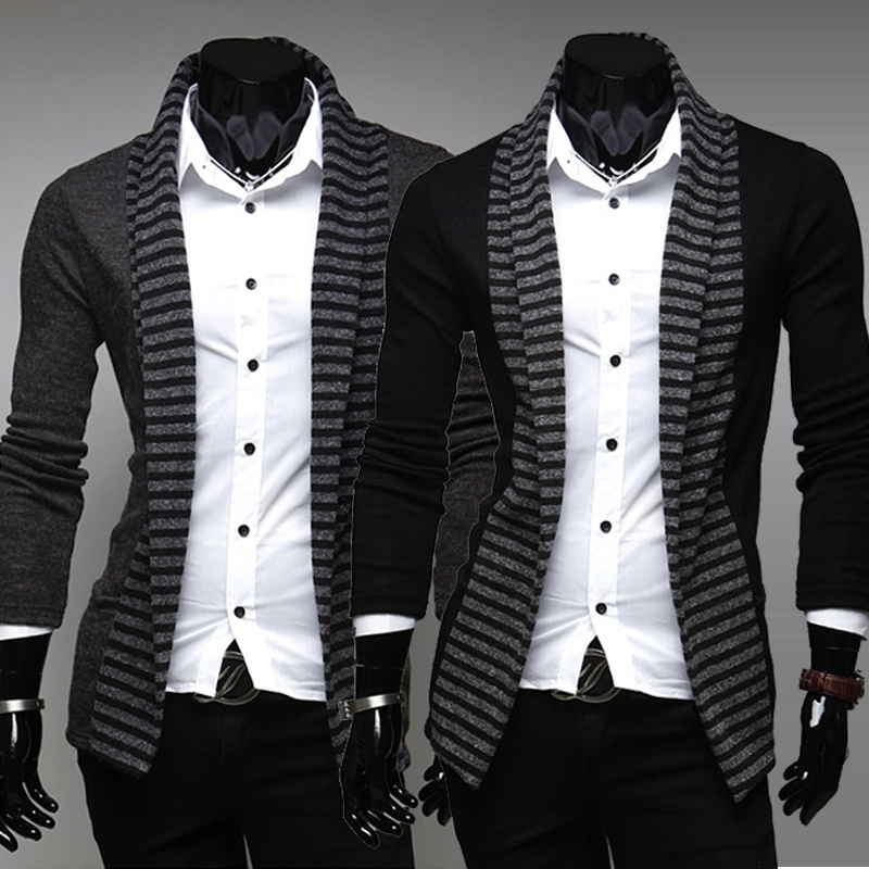 Slim brand new winter men's v-neck striped sweater, ...