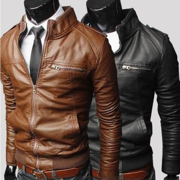 Slim fit British Style Jacket Men Standing collar Leather ...
