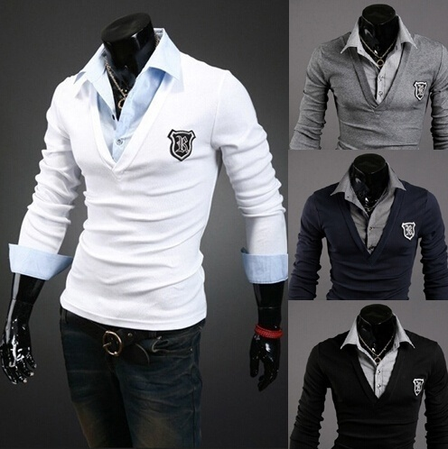 Slim Fitting Warm Men Clothing Long Sleeve Badge Lapel ...