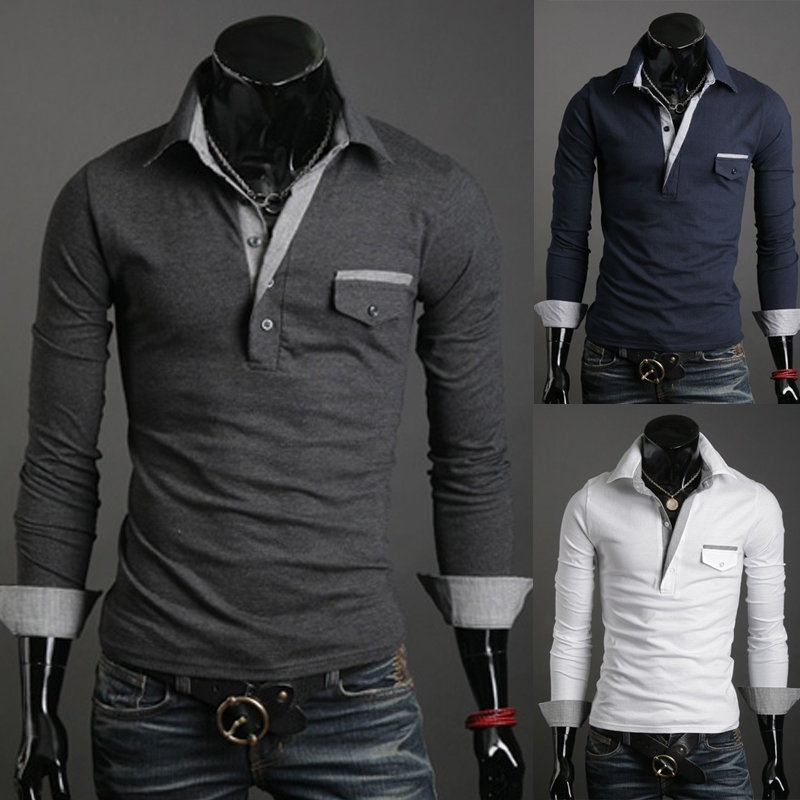 Slim lapel new men's long-sleeved T-shirt