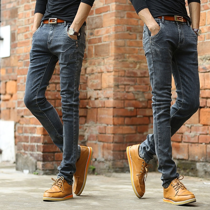 spring and summer men's Slim thin black stretch fashion ...