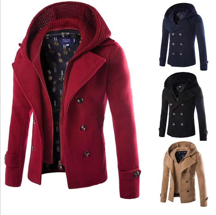 Style Man's Winter Fashion Detachable Woolen Coat