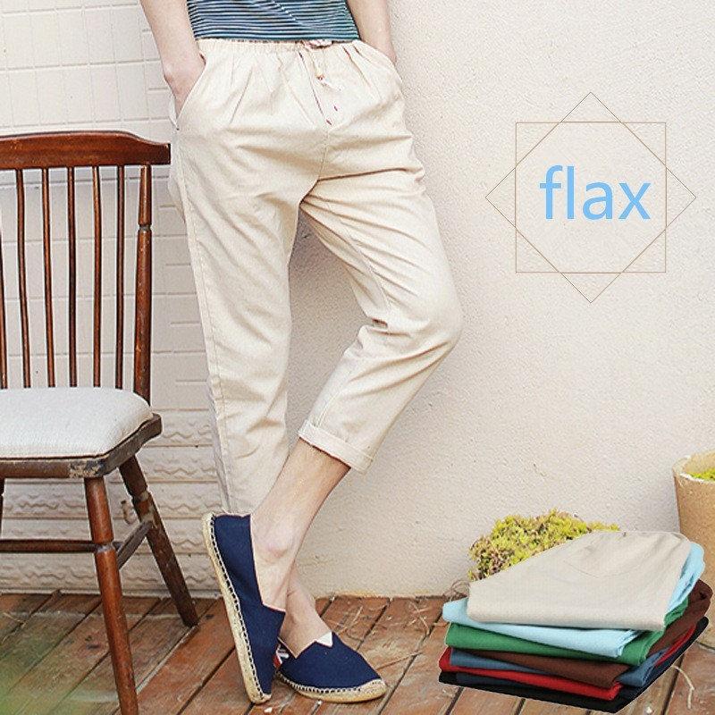 Summer Men's Casual Pants Cotton Linen Trousers Ninth ...