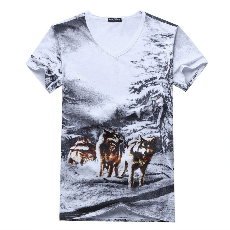 Summer Short Sleeve t shirt Men Animal Print V-neck ...