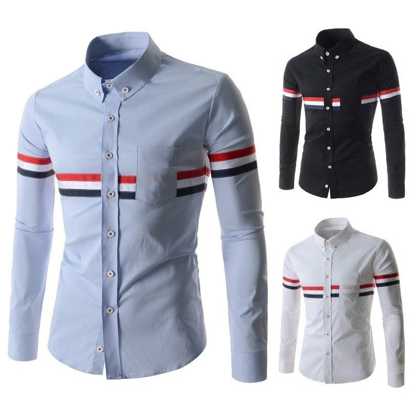 The New Fashion Men's Casual Slim Fit Shirts Ribbon ...