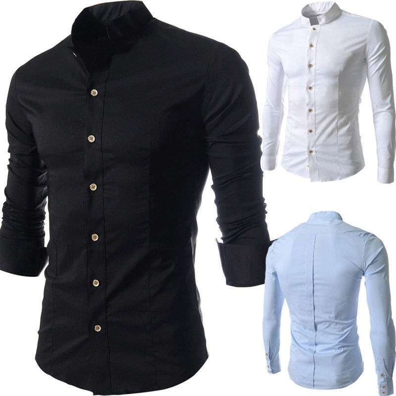 The new men's casual long-sleeved shirt collar