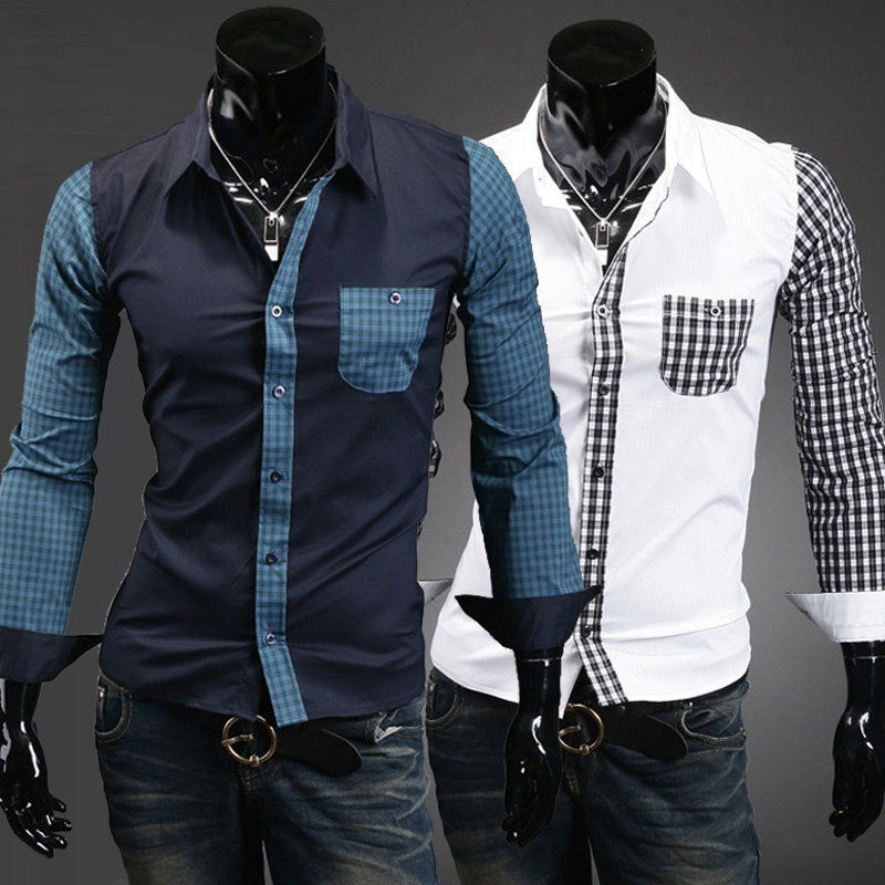 The new men's plaid stitching Slim casual long-sleeved ...
