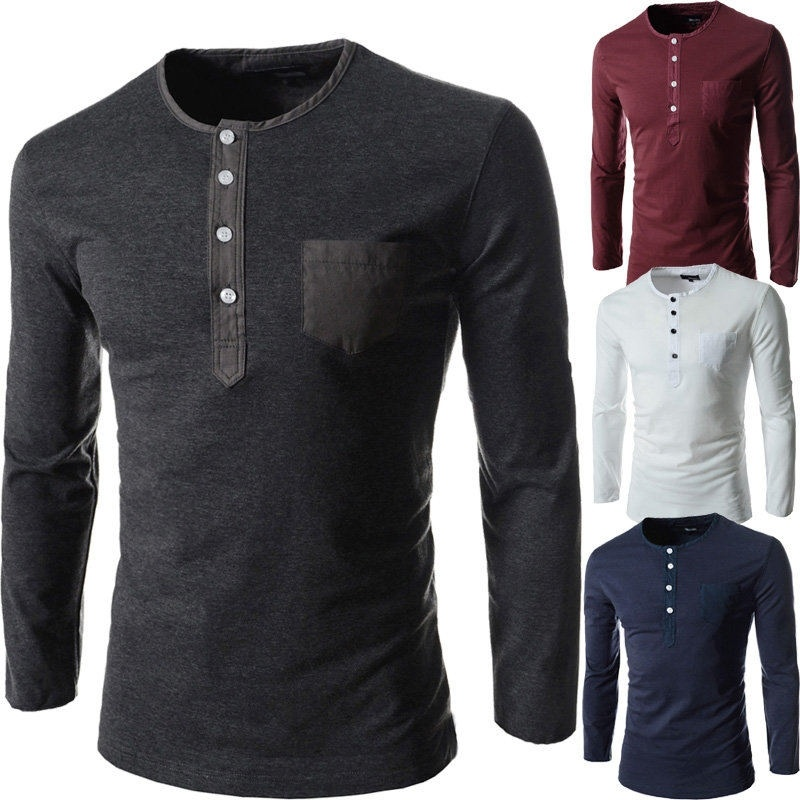 The new multi-button men's round neck long-sleeved T-...