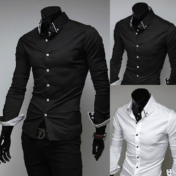 Turn-Down Collar Cotton Plain Long Sleeve Single Breasted ...