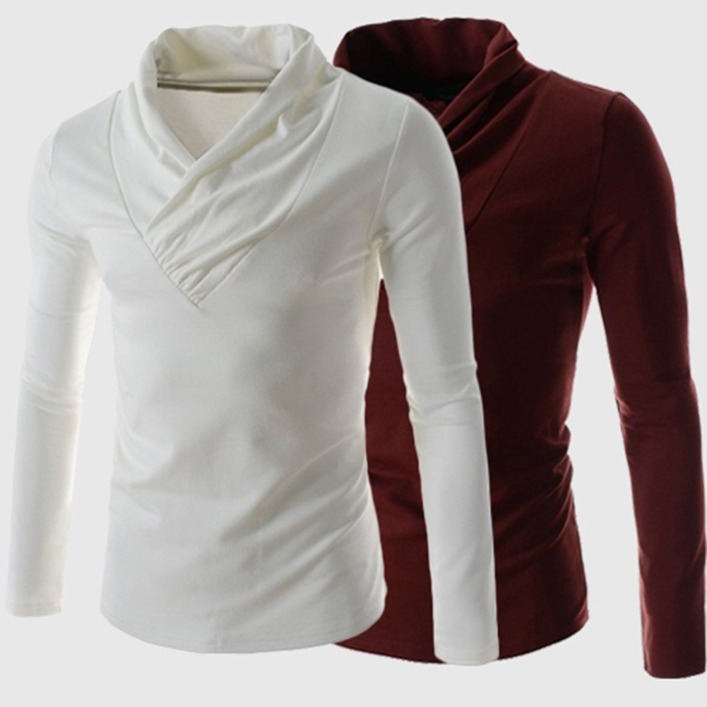 V-Neck Cotton Blends Long Sleeve Pullover Men's T-Shirts