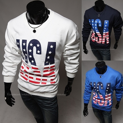WHATLEES Men printing long sleeved  sweater