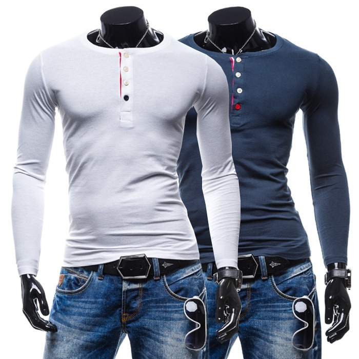 winter men's slim neck long sleeved T-shirt Korean stylish ...