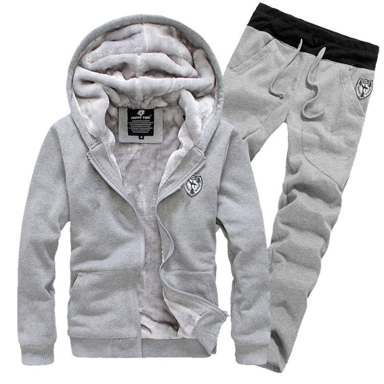 Winter Tracksuits Hooded Men Male Hoodies Sport Suits Fur Lining Jacket Pants and Sweatshirt Set