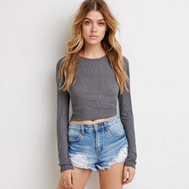 American Fashion Spring women gray short pullover Casual ...