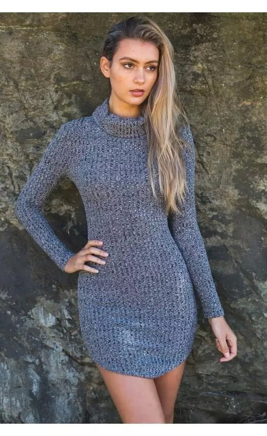 American Fashion winter Women Elegant sexy gray knitted ...