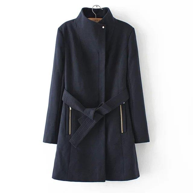 European Fashion Winter Women black Pocket zipper Woolen ...