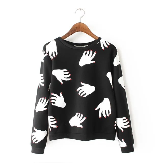 European Fashion women black Hand print sports pullover ...