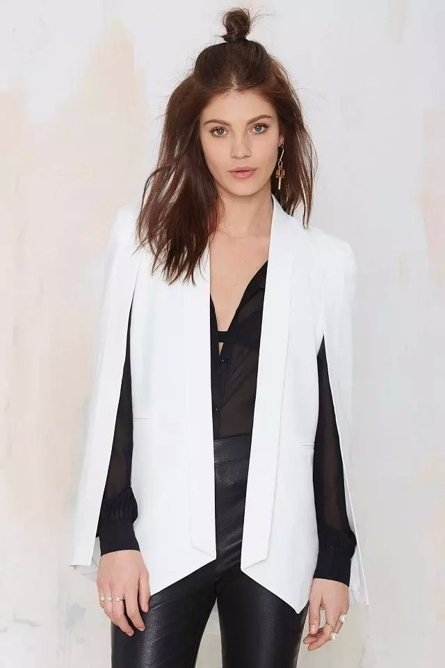 European fashion women elegant office white pocket blazer ...