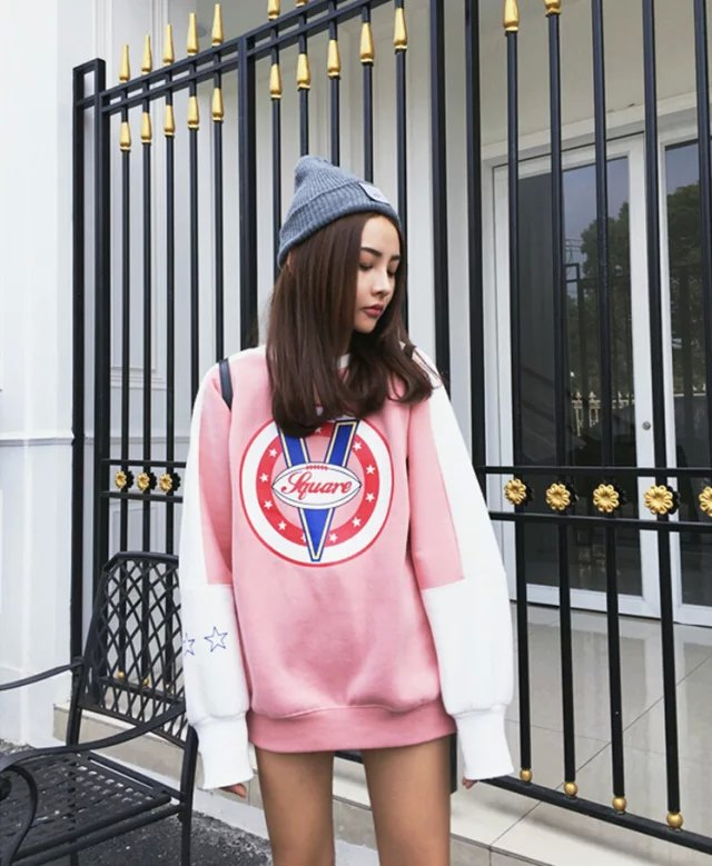 European Fashion Women Sweatshirts winter thick warm ...