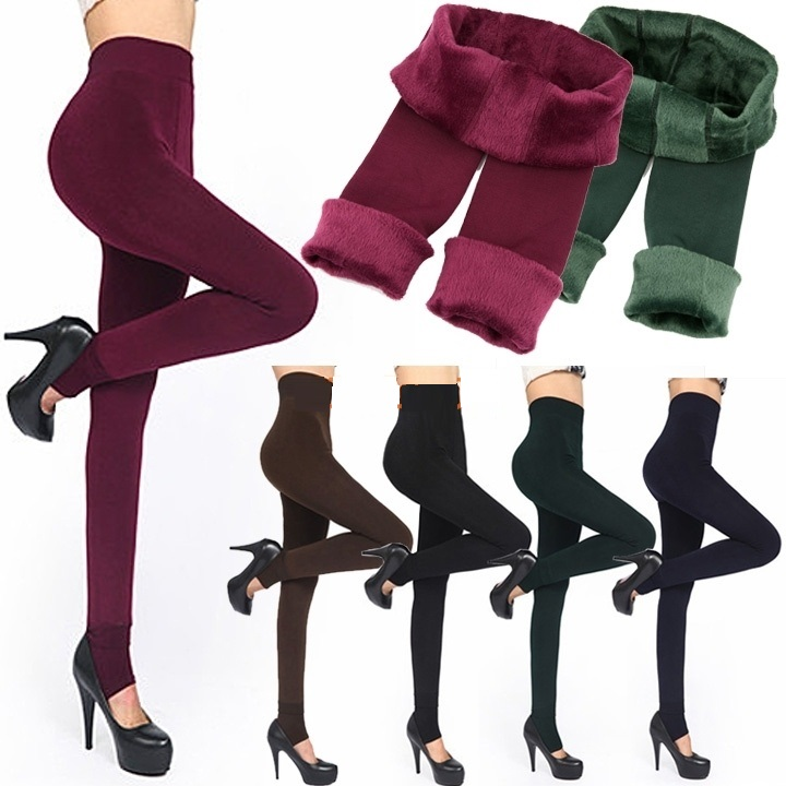 Fashion 6 Colors Brushed Stretch Fleece Lined Thick ...