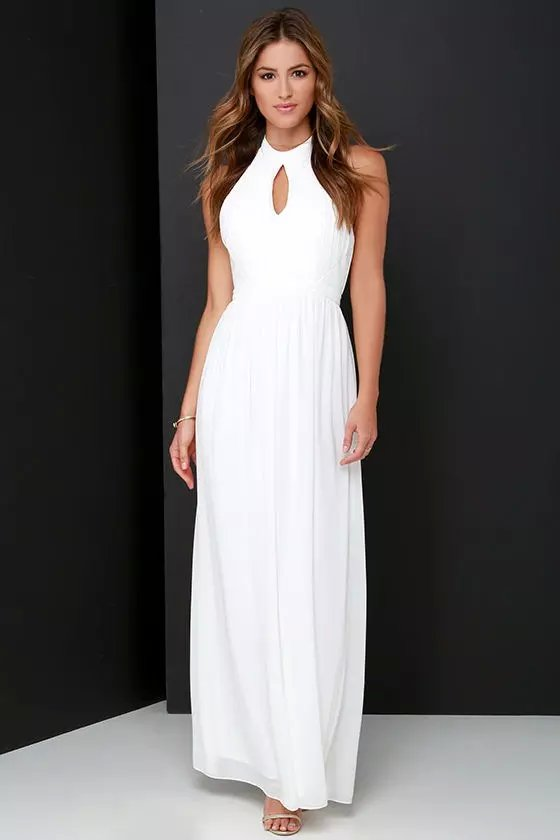 Fashion Elegant white Sexy off shoulder Backless sleeveless ...