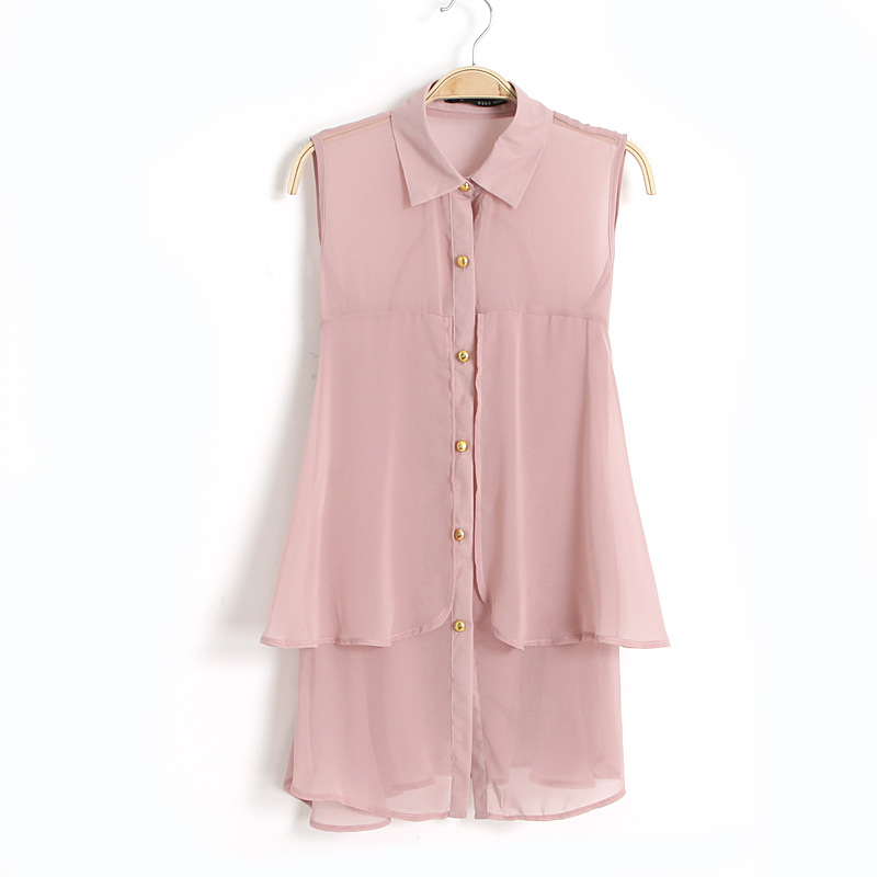 Fashion office lady elegant chiffon pink button ruffle ...