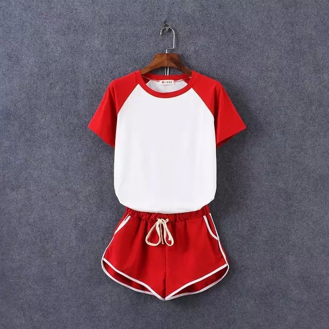 Fashion Sport short sleeve white red patchwork T shirt ...