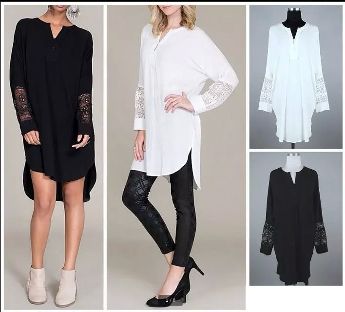 Fashion Spring women elegant boho chiffon lace patwork Hollow out V-neck dress long sleeve side open loose casual Brand