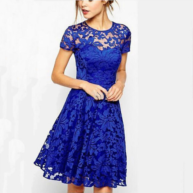 Fashion Spring women Elegant sexy blue lace hollow out ...