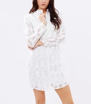 Fashion Spring women Elegant sexy Lace White mini shirt ...