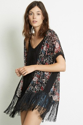 Fashion Spring Women floral print tassel Kimono outwear ...