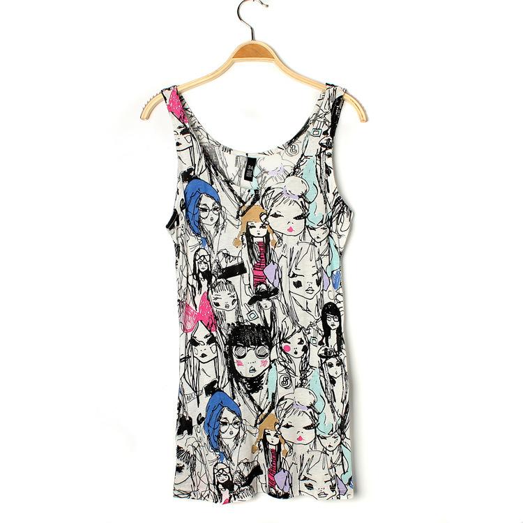 Fashion summer Cartoon print O-neck sleeveless streetwear ...