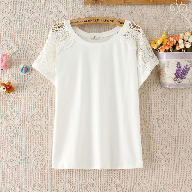 Fashion summer women cotton Lace Hollow out shouler ...