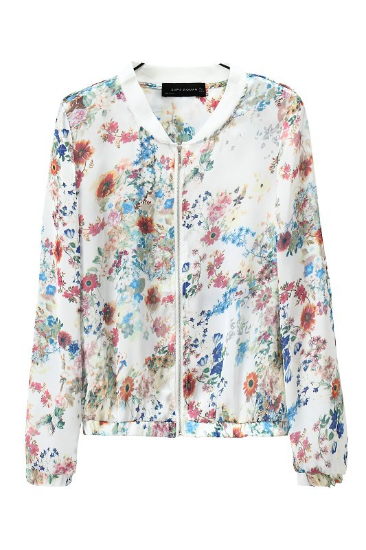 Fashion vintage floral Print jacket for women long sleeve ...