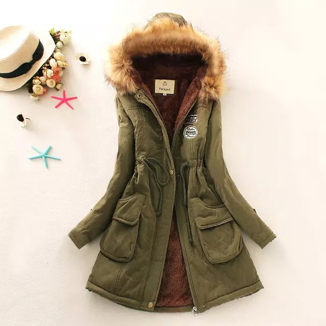 Fashion Women Army green Letter patchwork Cotton fur ...