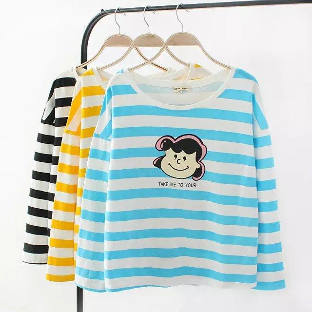 Fashion Women Autumn cotton Cute Striped Cartoon Print ...
