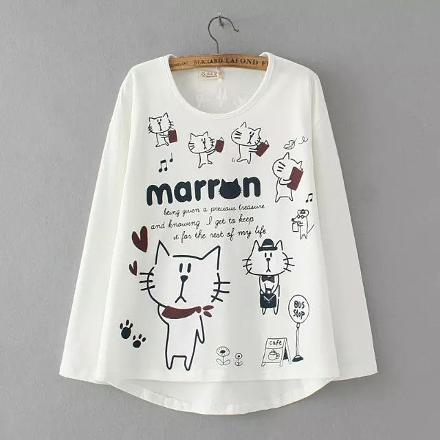 Fashion Women Autumn white cotton Letter Cat Print O-...