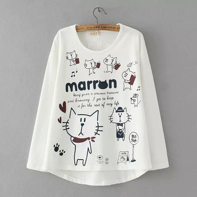 Fashion Women Autumn white cotton Letter Cat Print O-...