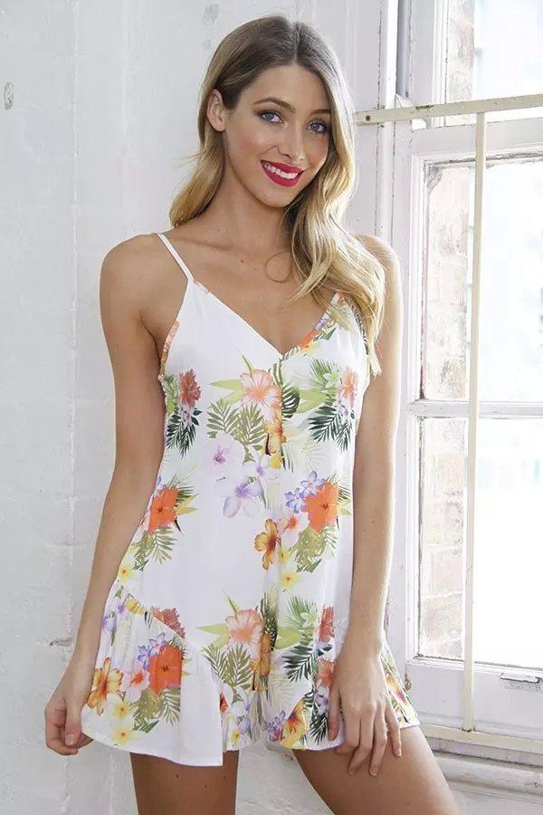 Fashion Women Boho white chiffon floral print Sexy V-...