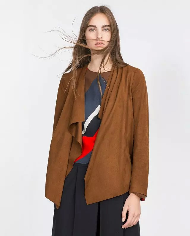 Fashion women Brown Faux Suede Leather irregular Jacket ...