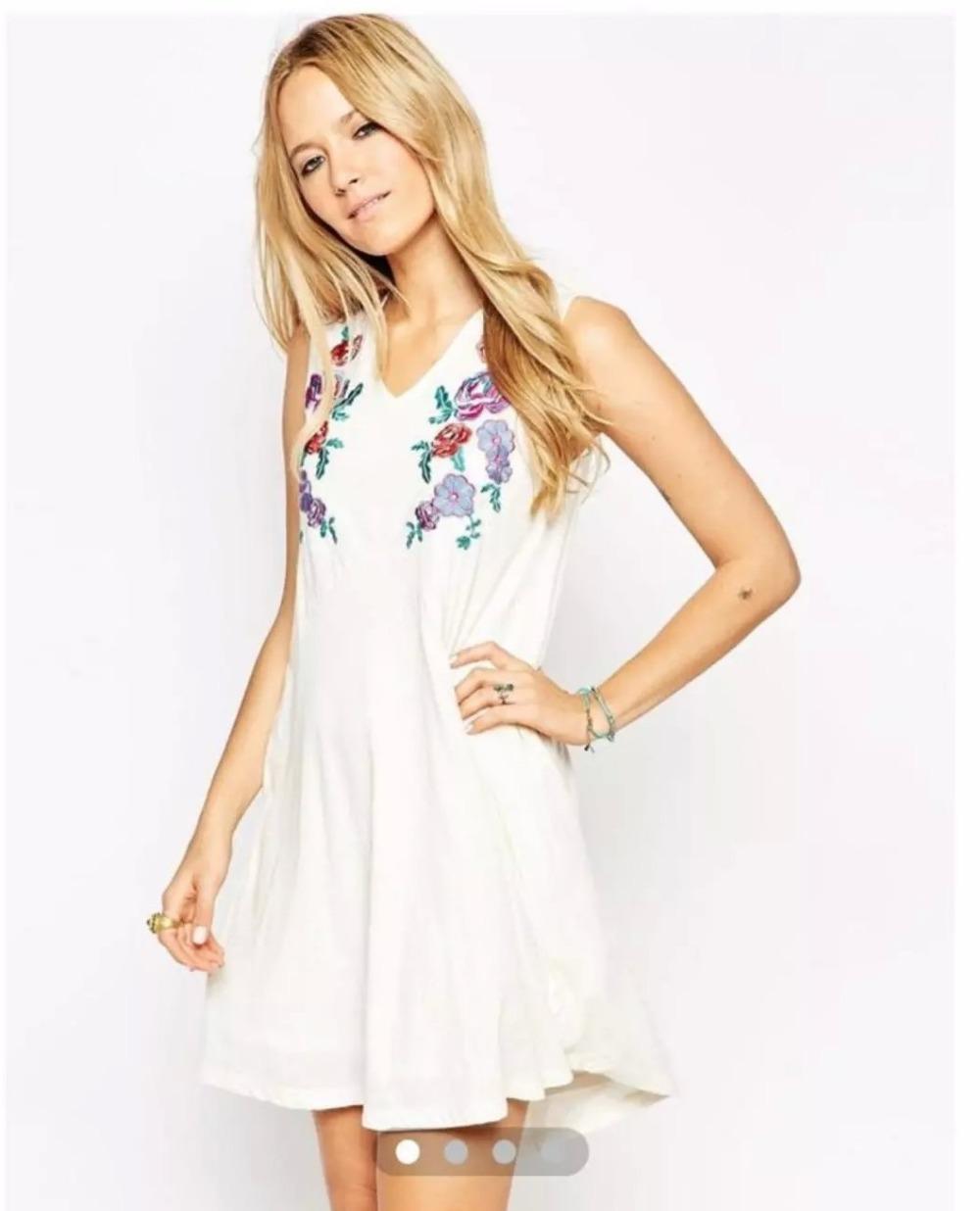 Fashion Women elegant beige floral Embroidery V-neck ...