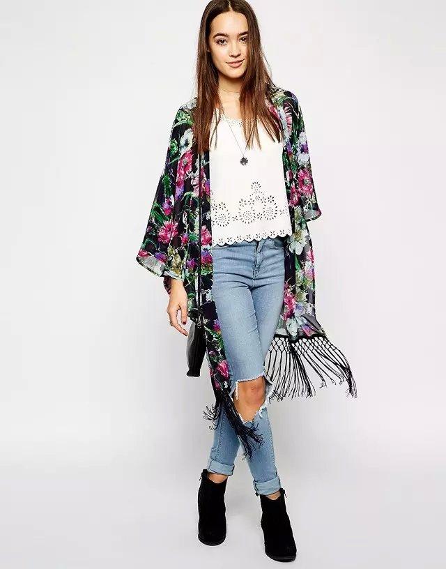 Fashion women elegant black floral print chiffon tassel ...