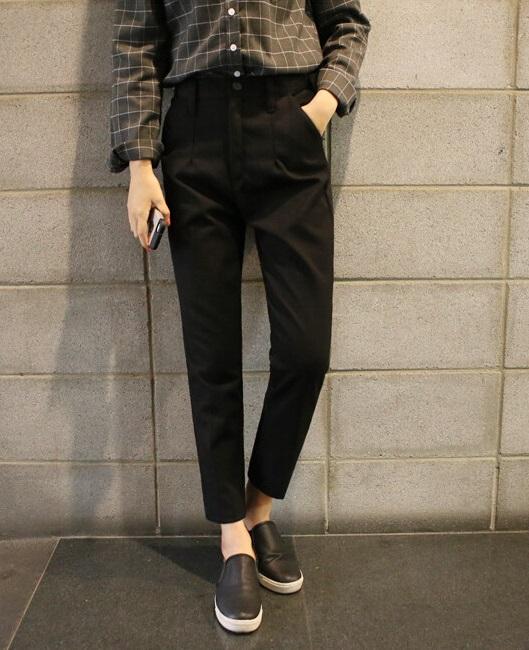 Fashion women Elegant Black Trouser Zipper pocket Pants ...