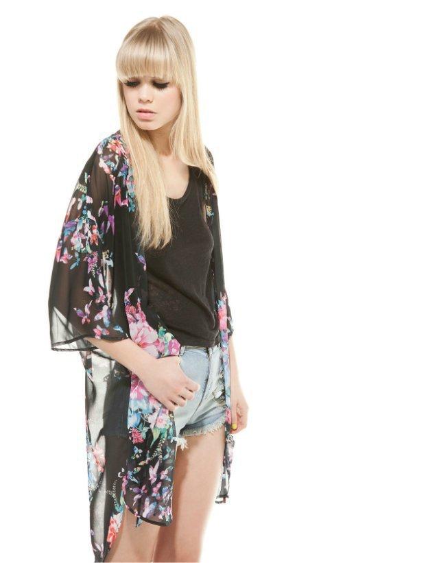 Fashion women elegant chiffon floral print long Kimono ...