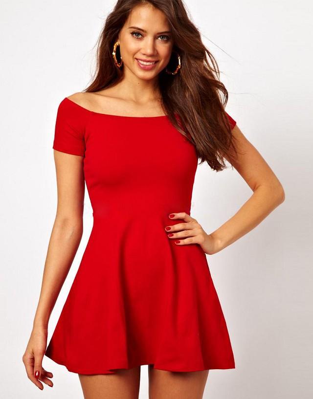 Fashion Women elegant cotton sexy red mini pleated Dress ...