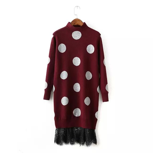 Fashion Women elegant Dots pattern knitted sweater Lace ...