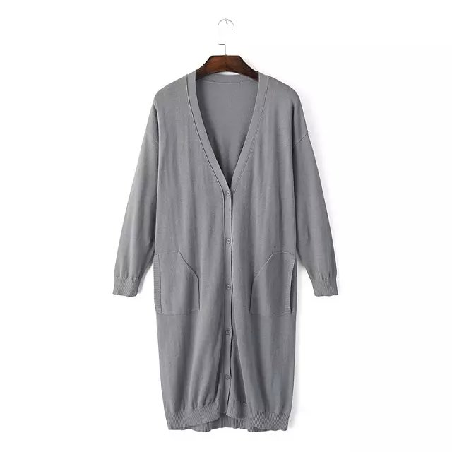 Fashion women elegant gray button V-neck Pocket batwing ...