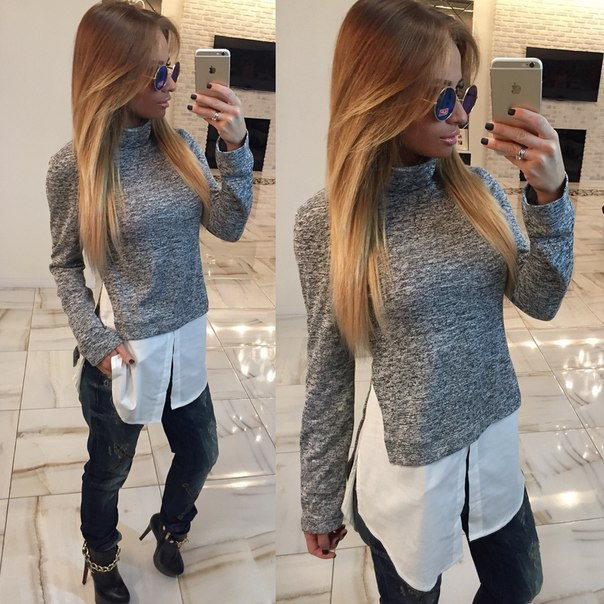 Fashion Women elegant Gray Turtleneck patchwork casual ...